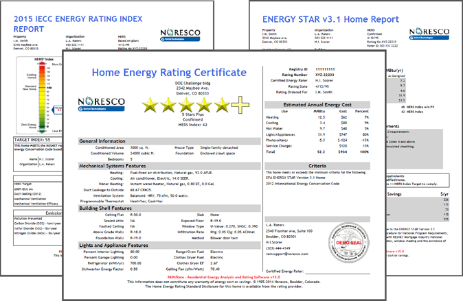 REM/Rate HERS Certificate